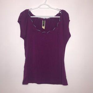 Anthropologie | Purple Rolled Neck Summer T-Shirt